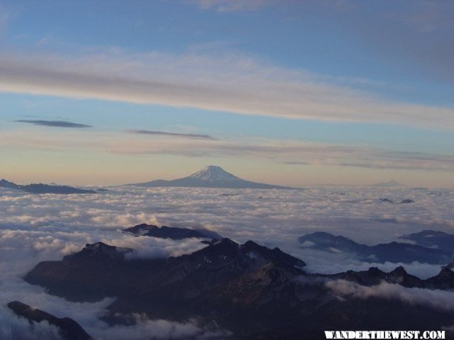 View of Mt. Adams from camp muir (above the clouds)