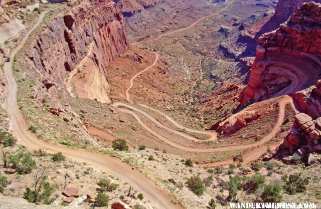 The Shafer Trail heads down to the White Rim