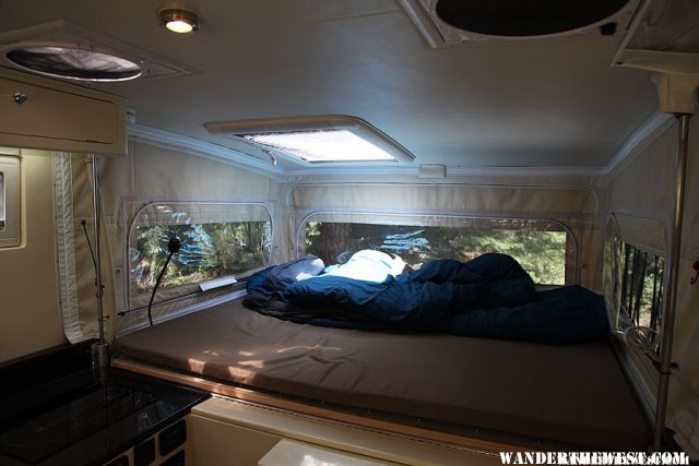 XPCamper Interior With Skylight Open to Sunlight