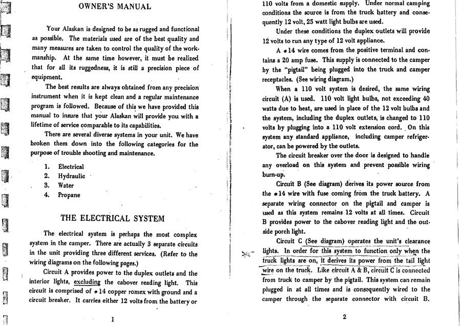 1969 alaskan camper owners manual alaskan camper discussions rh wanderthewest com Camper Trailer Wiring Diagram RV Power Converter Wiring Diagram
