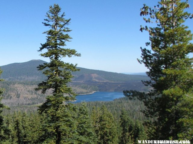 Snag Lake with the Cinder Cone behind it.