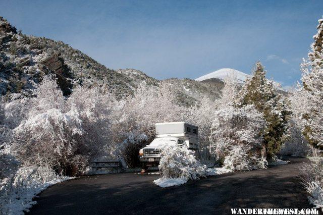 Snow-Flocked Campground