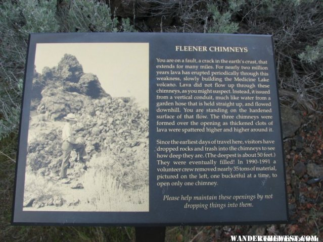 The interpretive sign at Fleener Chimneys