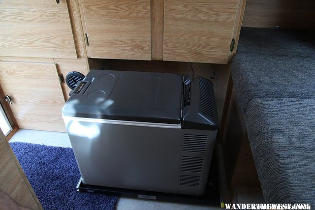 Engel fridge on a sliding base