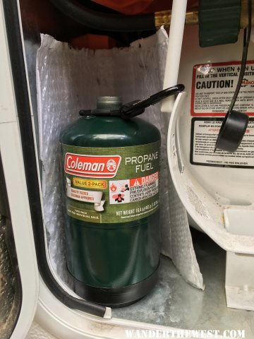 Propane bottle attached