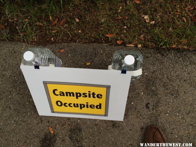 campsite occupied sign