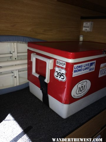 velcro tie down ice chest (well, now it's food pantry)