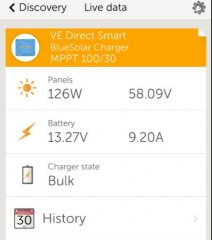Live data readout from Bluetooth/App