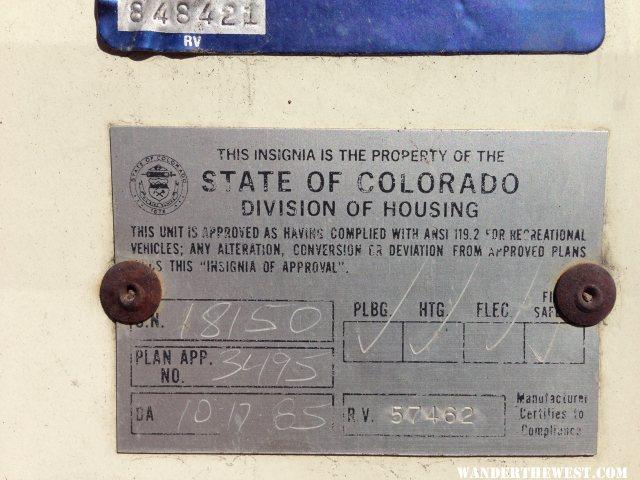 State of Colorado Tag on 1985 Keystone Camper