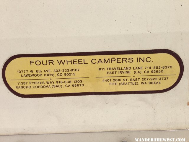 Tag on 1985 Keystone Camper