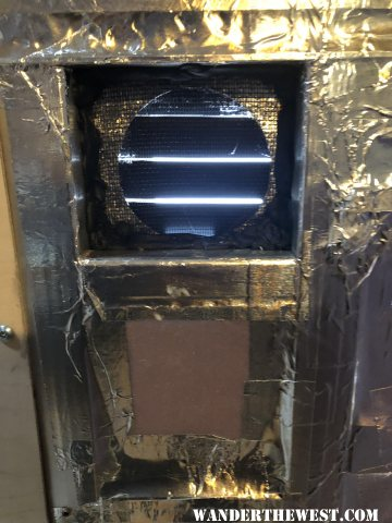 Fridge vent with screen in place