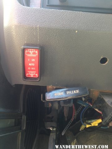 BlueSea 7622 ACR manual control installed in Dash