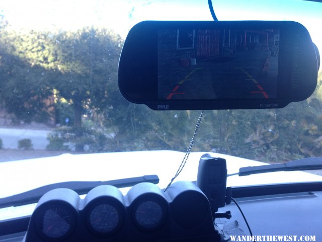 Podman Dash Pod w/Gauges, Brinno Time Lapse Camera and Pyle Backup Camera Monitor over Rear View Mirror