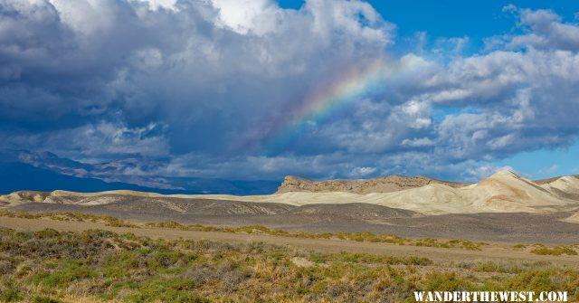 Rainbow over pup fish habitat, Death Valley