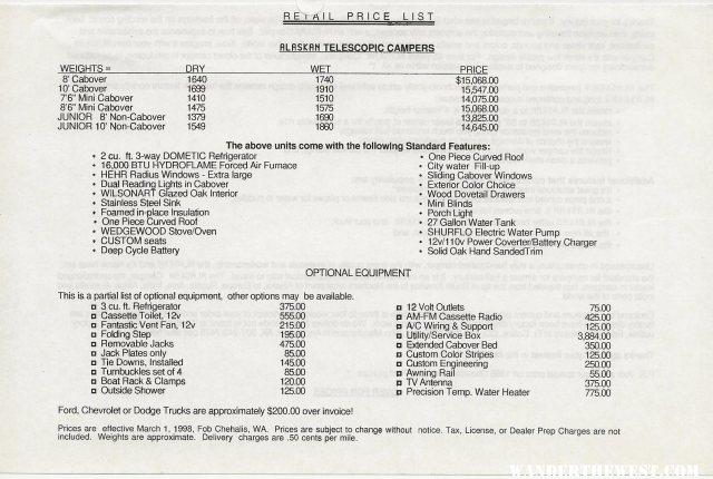 Retail Price List 1998 1