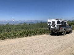 Camper with Tetons